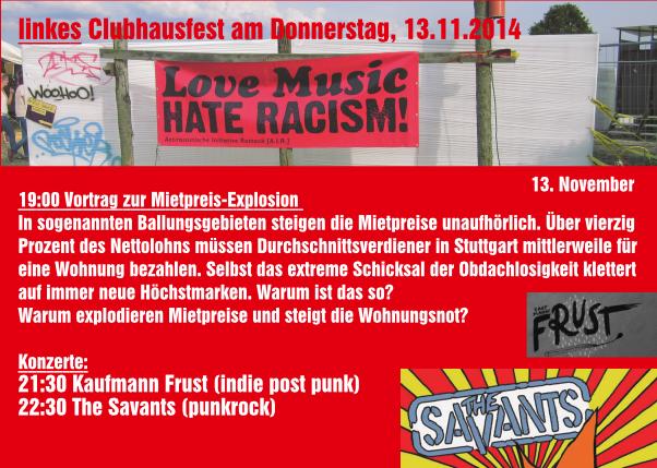 Flyer zum linken Clubhausfest im Wintersemester 2014/15