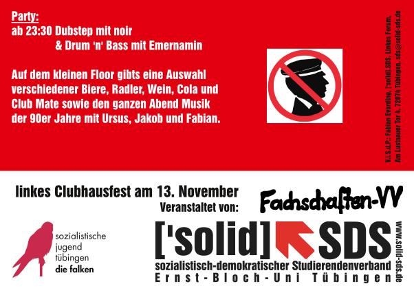 Flyer zum linken Clubhausfest im Wintersemester 2014/15 (Rückseite)