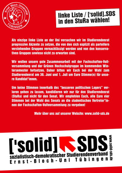 Der Wahlflyer der linken Liste / ['solid].SDS Tübingen zur Wahl des Studierendenrats (StuRa) im Sommersemester 2015 (Vorderseite)
