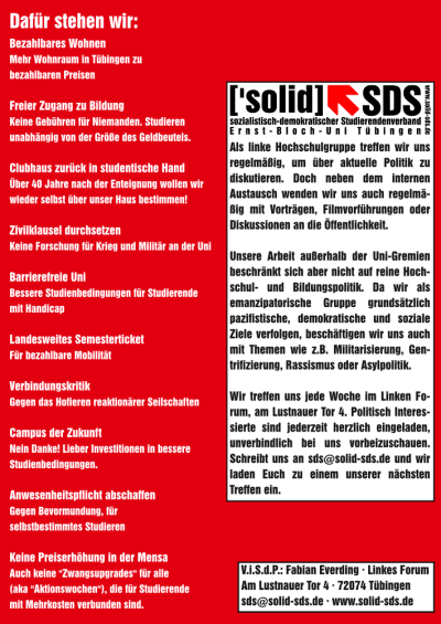 Der Wahlflyer der linken Liste / ['solid].SDS Tübingen zur Wahl des Studierendenrats (StuRa) im Sommersemester 2015 (Rückseite)